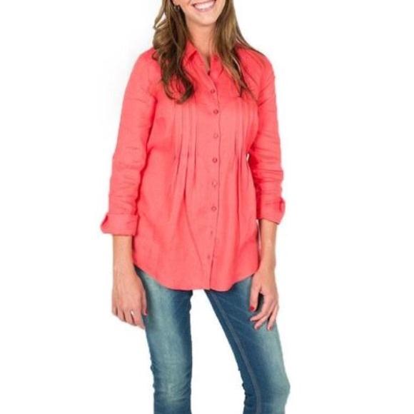 1702badf2d21 Tyler Boe Tops | Passionfruit Pink Pintuck Linen Shirt 6 | Poshmark